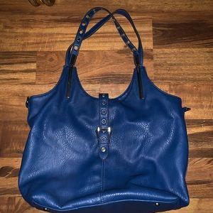 Large black rivet shoulder bag